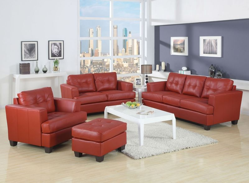 Platinum Living Room Set in Red