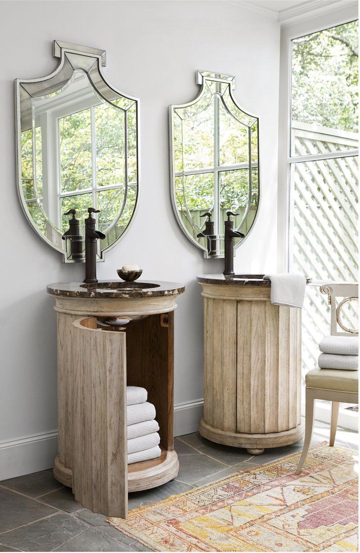 Dallas Designer Furniture Column Pedestal Sink Chest Antique White