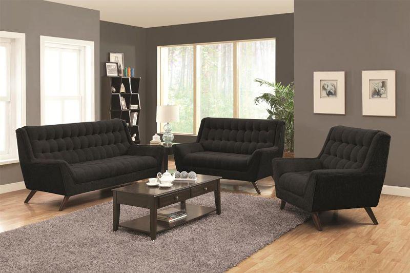 Natalia Living Room Set in Black