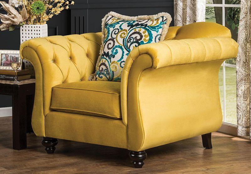 yellow living room set.  SM2223 Antoinette Living Room Set in Royal Yellow Dallas Designer Furniture