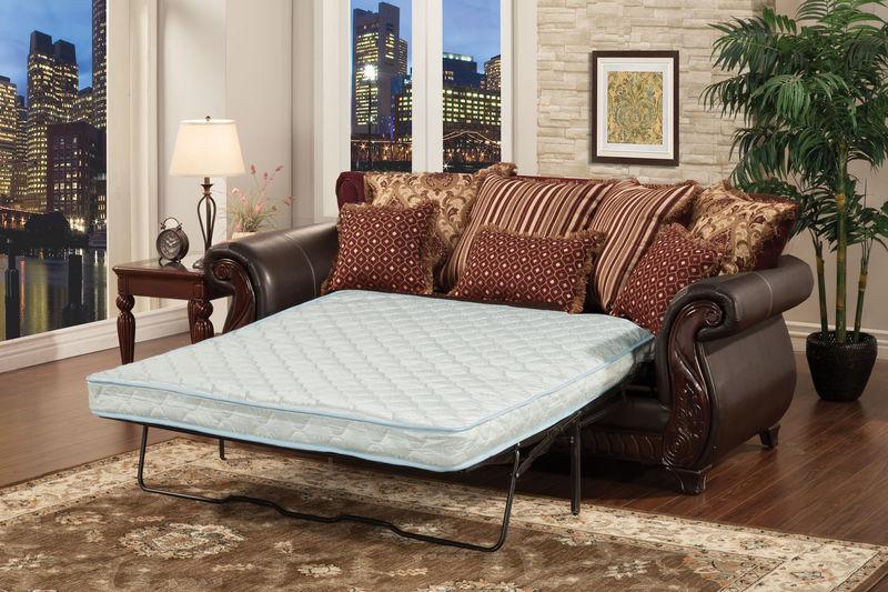 Living room set in burgundy with sleeper sofa franklin living room set