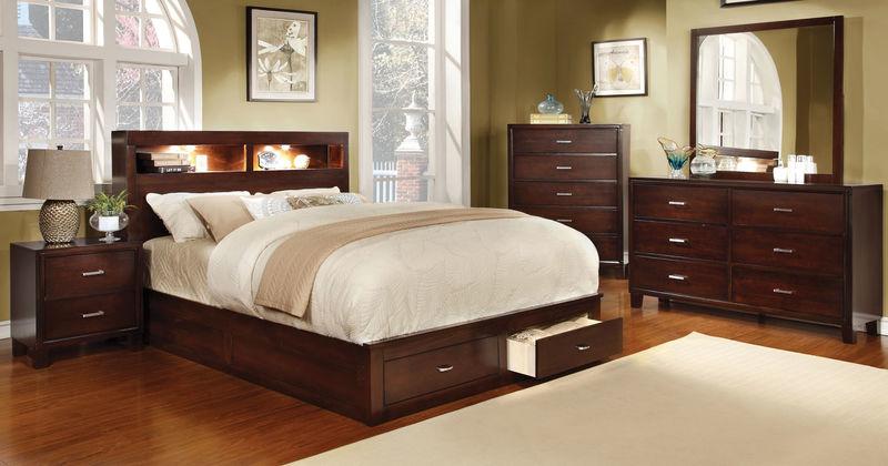 Gerico II Bedroom Set with Storage Bed in Cherry