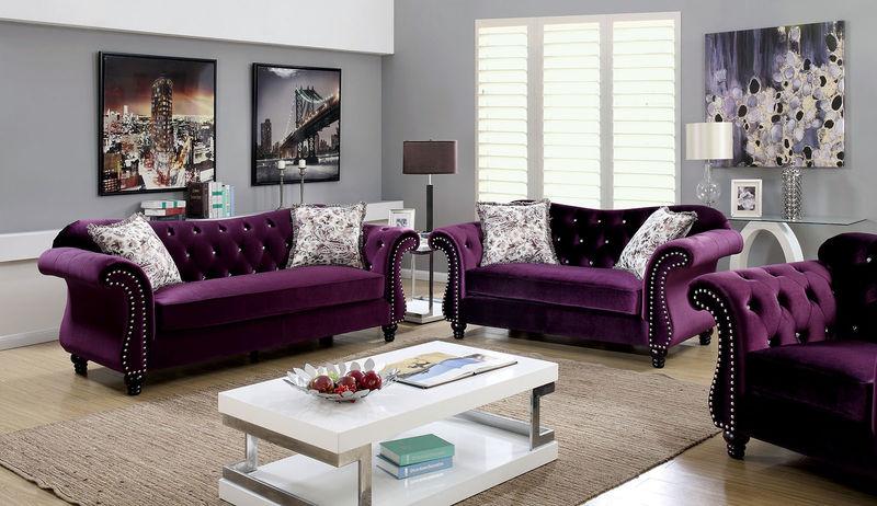 Jolanda Living Room Set in Plum