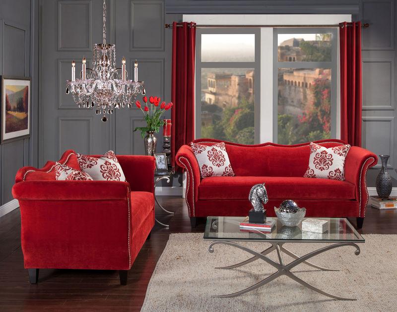 Zaffiro Living Room Set in Red