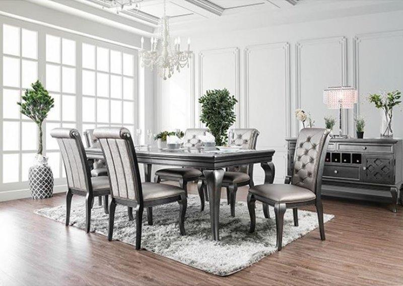Amina Formal Dining Room Set in Gray