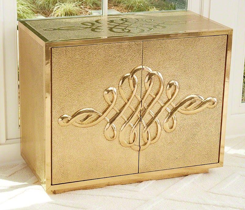 Scroll 2 Door Cabinet in Brass