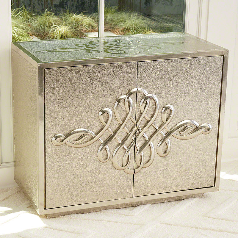 Scroll 2 Door Cabinet in Silver