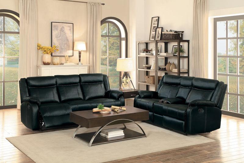 Jude Reclining Living Room Set in Black