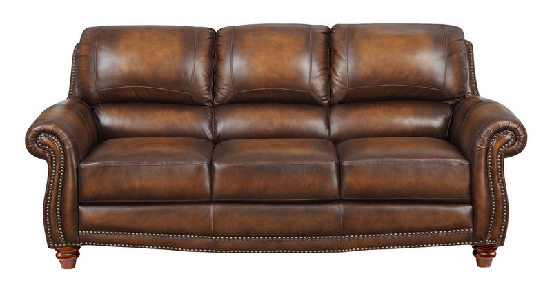 James Top Grain Leather Living Room Set in Monaco
