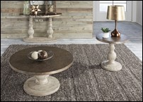 Alamosa Rustic Round Coffee Table Set