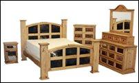 Mansion Rustic Bedroom Set with Cowhide