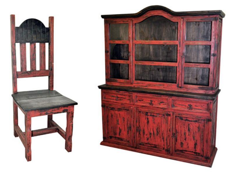 #03 2 76 6 2 Red Scrape Rustic Dining Room Set