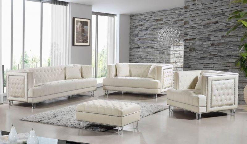 Lucas Living Room Set in Cream
