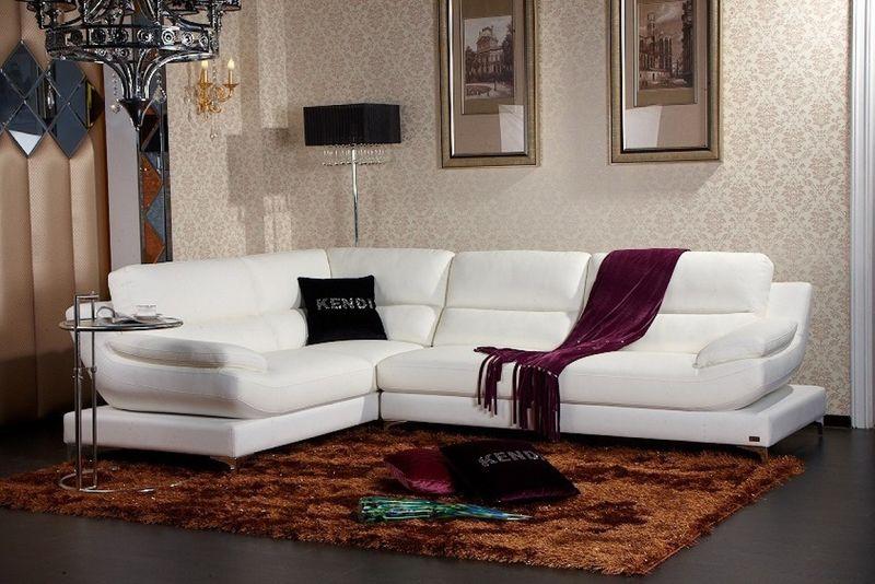 Divani Casa Clio Modern White Sectional