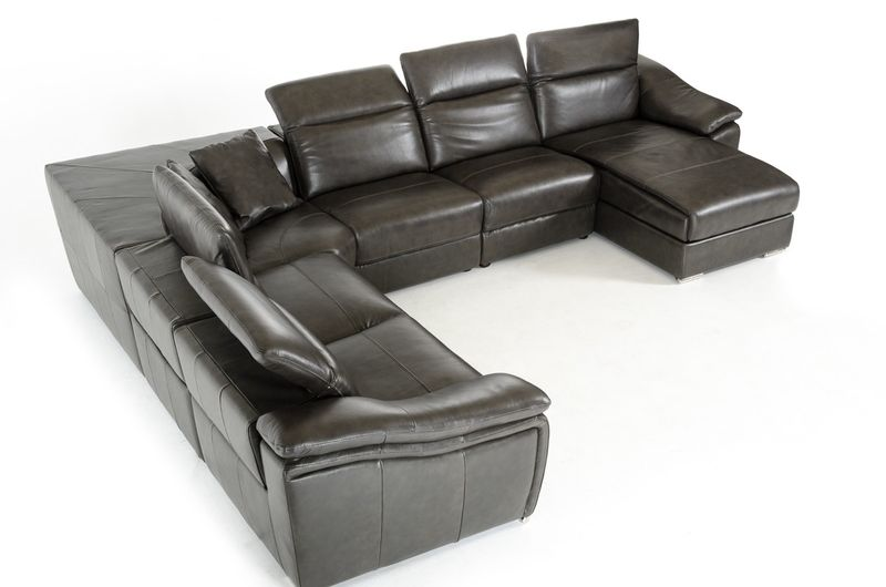 Divani Casa Jasper Dark Grey Leather Sectional
