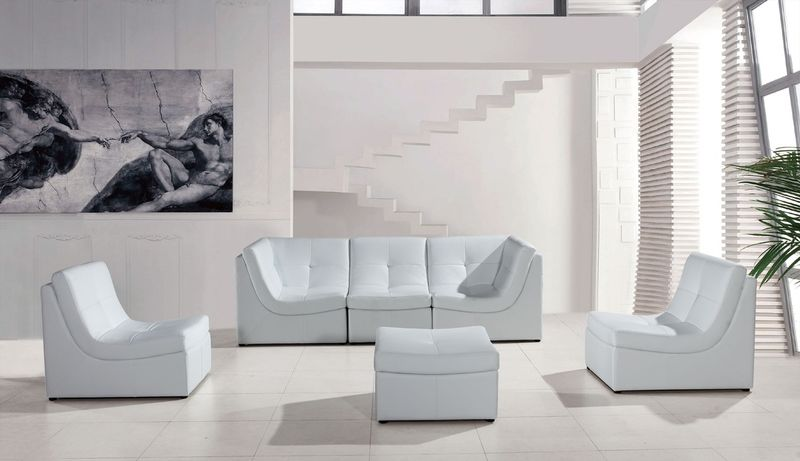 Divani Casa Modern White Modular Sofa Set