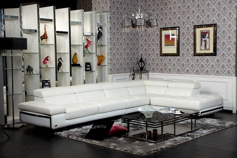 Divani Casa Myst Modern White Sectional