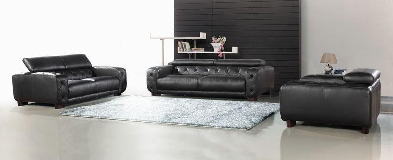 Divani Casa Nantes Black Italian Leather Living Room Set