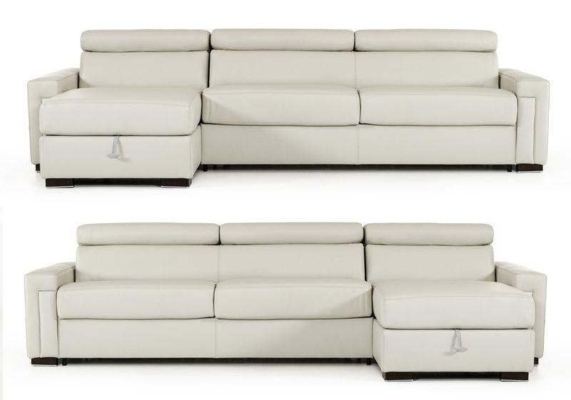 Estro Salotti Sacha Modern Grey Leather Reversible Sofa Bed
