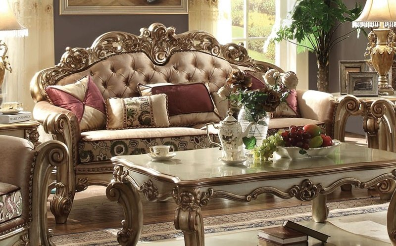 formal living room set acme 53010 vendome formal living room set in gold 12622