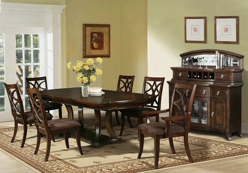 Keenan Formal Dining Room Set with Trestle Table