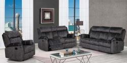 Domino Reclining Living Room Set in Granite