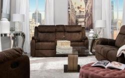 Domino Reclining Living Room Set in Mocha