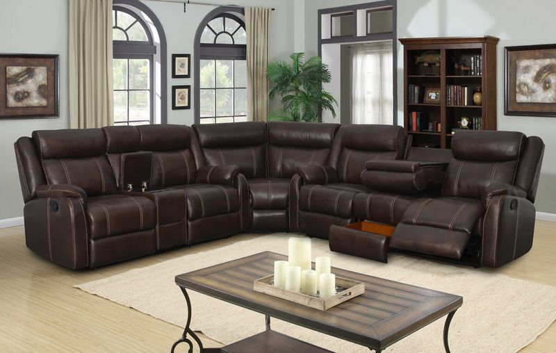 Rummy Reclining Sectional in Mocha