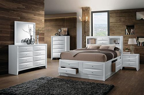 Ireland Bedroom Set with Storage Bed in White