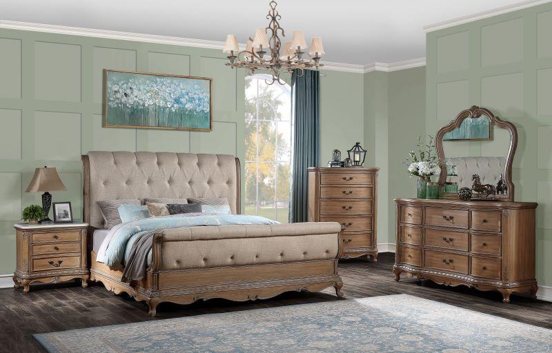 Teagan Sleigh Bedroom Set in Oak