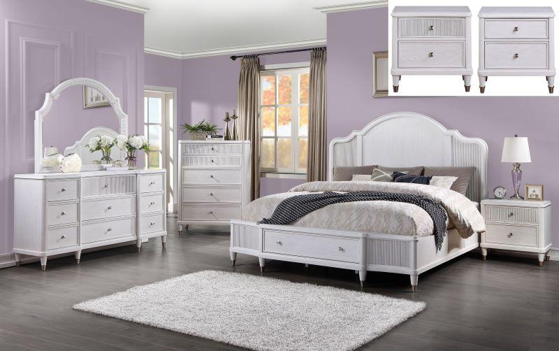 Celestia Storage Bedroom Set in Off White