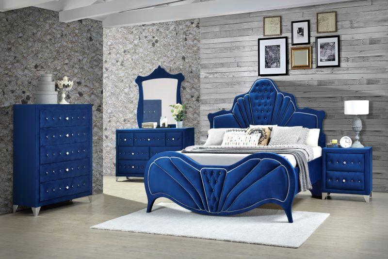 Dante Bedroom Set in Gray Velvet