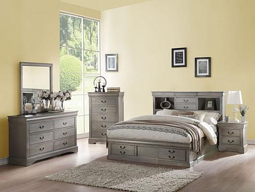 Louis Philippe Bedroom Set with Storage Bed in Antique Gray
