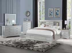 Louis Philippe Bedroom Set with Storage Bed in Platinum
