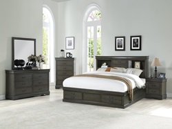 Louis Philippe Bedroom Set with Storage Bed in Dark Gray