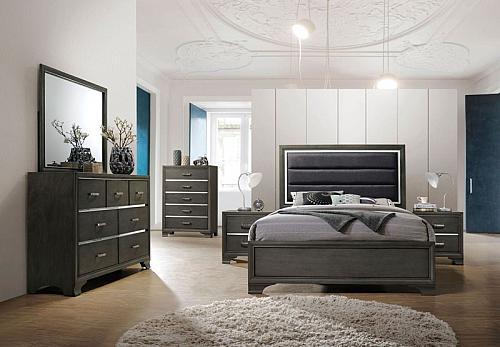 Carine Bedroom Set in Gray