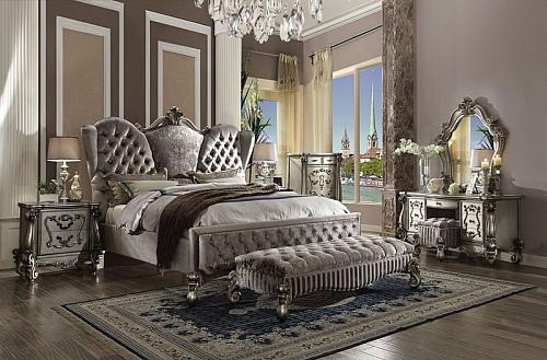 Versailles Bedroom Set in Platinum Velvet
