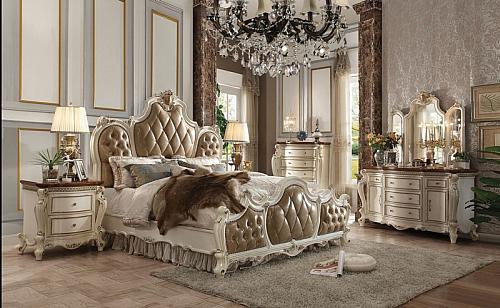 Picardy Bedroom Set with Leatherette Headboard