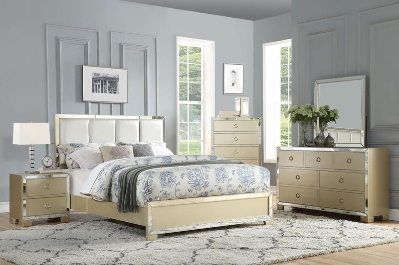 Voeville II Bedroom Set with Upholstered Headboard in Champagne