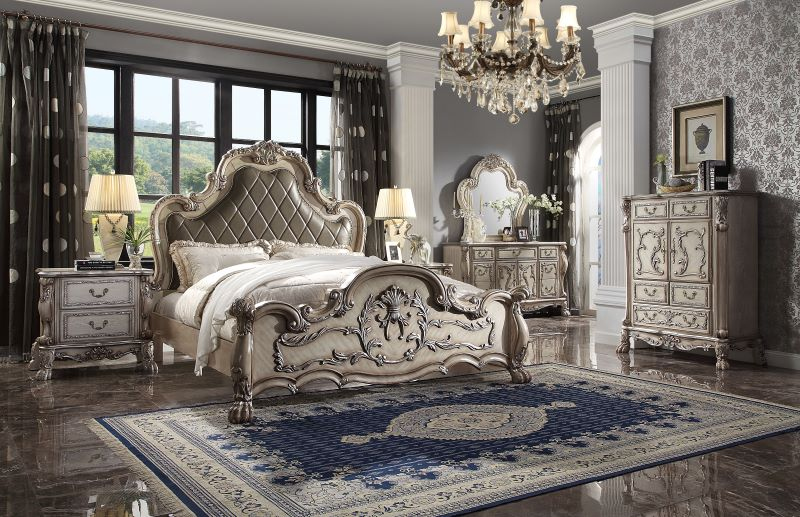 Dresden Ornate Bedroom Set in Vintage Bone White