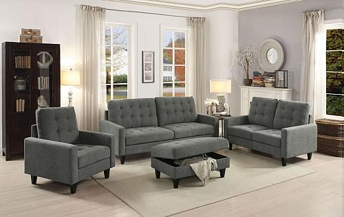 Nate Living Room Set in Gray