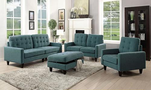 Nate Living Room Set in Teal