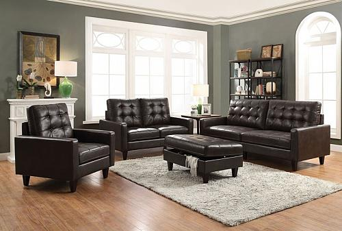 Nate Living Room Set in Espresso Leather-Gel