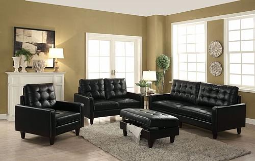 Nate Living Room Set in Black Leather-Gel