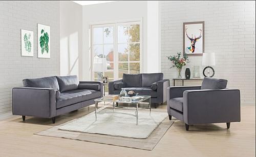 Heather Living Room Set in Gray
