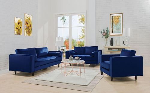 Heather Living Room Set in Navy