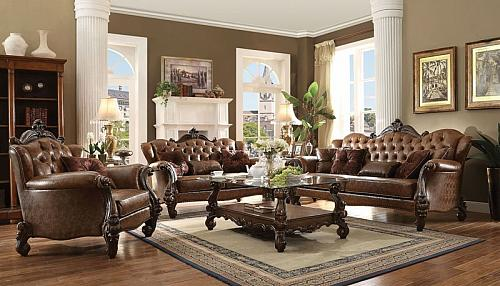 Versailles Formal Living Room Set in Light Brown