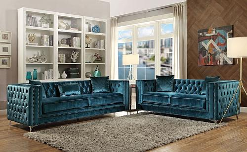 Gillian Living Room Set in Dark Teal