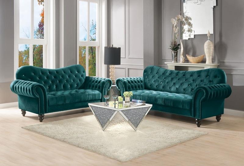 53400 Iberis Green Sofa Set | Acme | Free Delivery