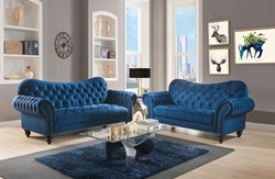 Iberis Living Room Set in Navy